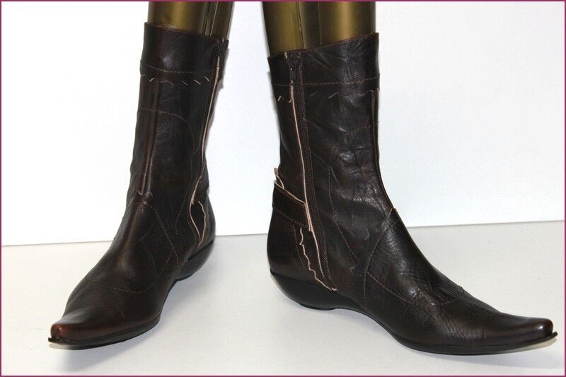 ONE MORNING SUMMER Boots Booties Very Pointed Brown Leather T 40 TOP CONDITION