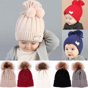 Baby Kinder Boy Winter Warm Soft Hut Pelz Pom Bobble Stricken Häkeln