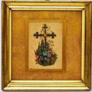 Lithographie-um-1840-1860-Rahmen-Berliner-Leiste-Kreuz-mit-Blumen