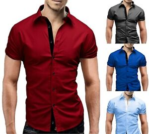 Mens-Short-Sleeve-Shirts-Casual-Formal-Contrast-Colour-Slim-Fit-Shirt-Top-PS25