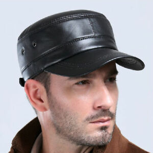 a356b1a5ad4 Mens Womens Black Solid Leather Biker Flat Cap Adjustable Motorcycle ...