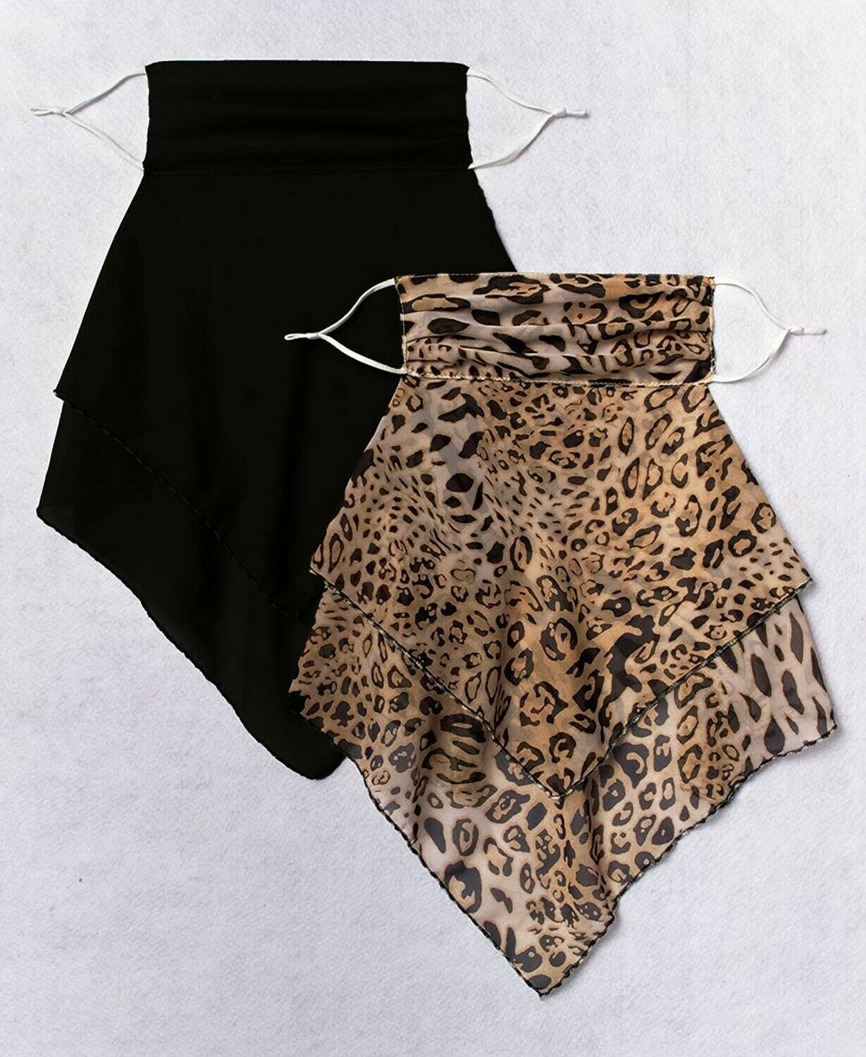 Women's Set of 2 Convertible Scarves w/ Face Mask Covering - Leopard Print Black
