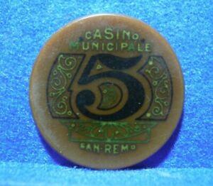 GETTONE-FICHES-TOKEN-CASINO-039-DI-SANREMO-VINTAGE-5-LIRE-PRIMI-039-900-N-10797