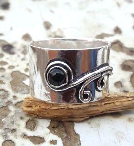Black-Onyx-925-Sterling-Silver-Band-Ring-Meditation-Ring-Size-SRR16