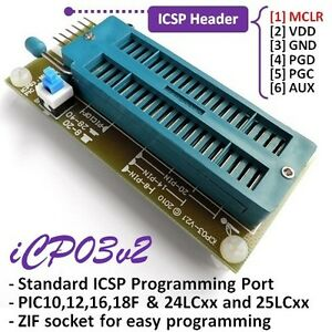 Details about iCP03v2 Microchip Multi PIC & EEPROM (24LCxx/25LCxx) Zif  Adapter for PICKit2 SW