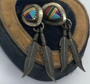 Vintage-Sterling-Silver-Earrings-925-Multi-Stone-Southwest-Dangle-Feather