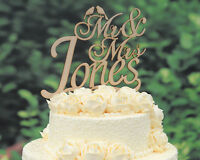 Personalized Wedding Cake Topper Rustic Laser Cut Wood Custom Cake Topper M001