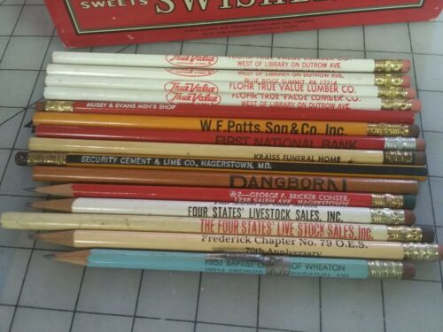15 Vtg Advertising Wood Pencils Maryland and Pennsylvania