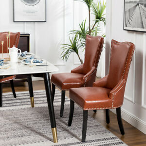 Knocker Ring Dining Chair Studded Faux Leather Upholstered