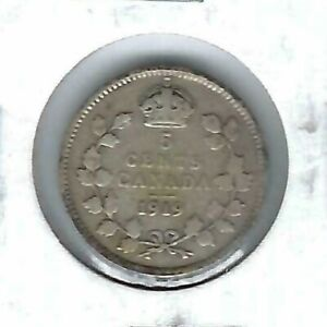 1919-Canadian-Circulated-George-V-Silver-Five-Cent-Coin