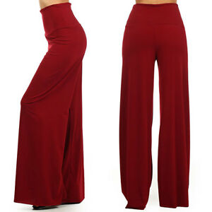 ad557a6d84c Details about Sexy High Waist Flare Wide Leg Long Palazzo Bell Bottom Yoga  Pants S M L XL USA
