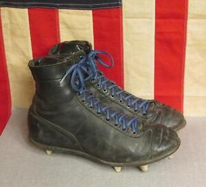 ce95319ec Vintage 1940s Spot Bilt High Top Black Leather Football Shoes Cleats ...