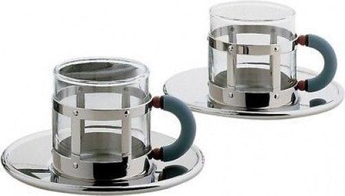 Alessi-mgdt Set-Ensemble de deux tasses avec soucoupes moka