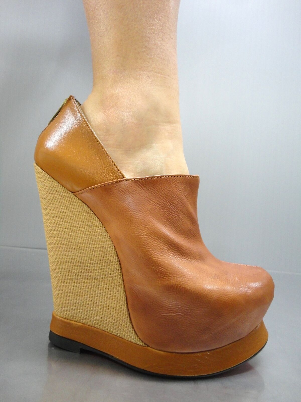 Grandes zapatos con descuento MORI ITALY WEDGES NEW HEELS ANKLE BOOTS STIEFEL STIVALI LEATHER BROWN MARRONE 43