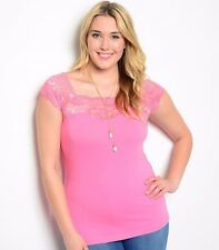 Size 2XL Tank Top Shirt PINK Womens Plus Short Sleeve Sleeveless COTTON LACE New