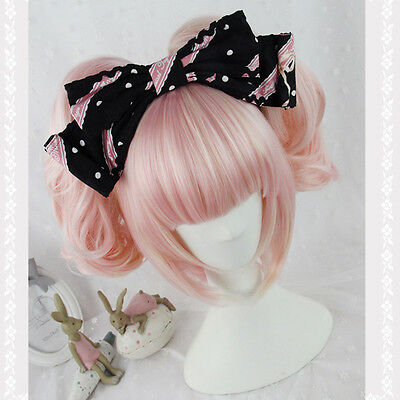 Hot Long Curly Wavy Hair Full Wig Pink Mix Gold Costume Lolita Anime Party