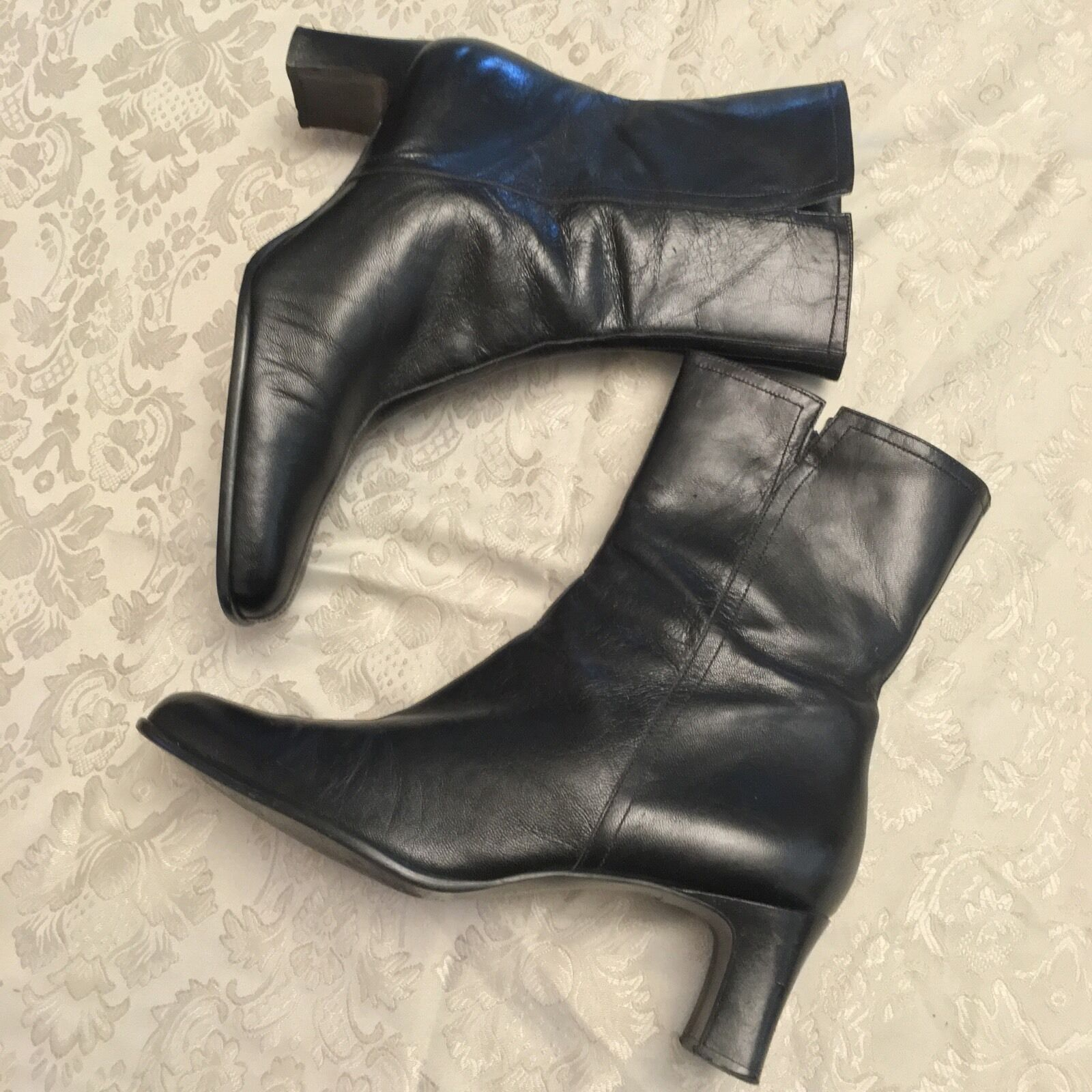 ANDREA COLLECTION Women's Boots Black size 10 Zip Made in Brazil Goat Leather
