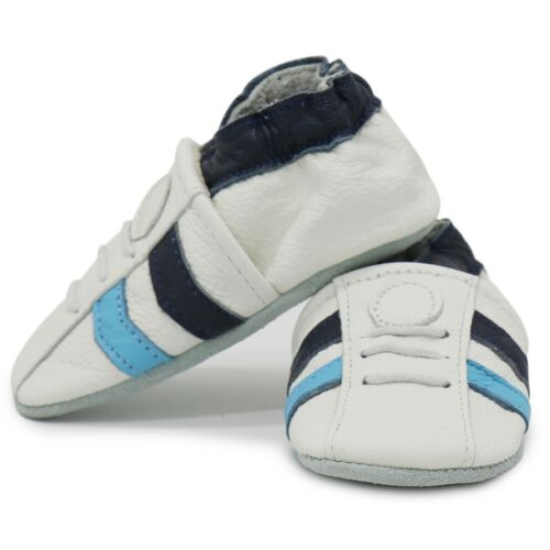 carozoo sports white blue 6-12m C1 soft sole leather baby shoes