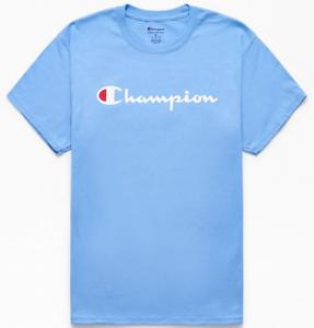 Champion Mens S//S T-Shirt SCRIPT Athletic Gym LT BLUE Skate Streetwear S-2XL $30