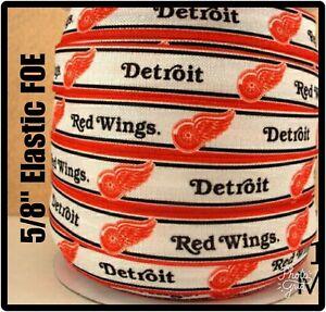"""Sur De Soi Nhl Detroit Red Wings 3yds 5/8"""" Elastic Foe, Hair Ribbon Bow Headband Red/white RéSistance Au Froissement"""