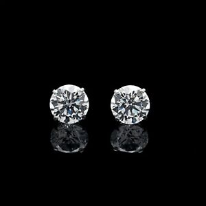 1-00Ct-Created-Diamond-Earrings-14K-Genuine-White-Gold-Round-Solitaire-Studs
