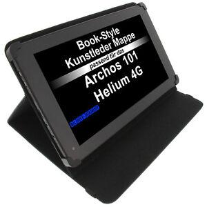 Tasche-fuer-Archos-101-Helium-4G-Book-Style-Schutz-Huelle-Tablet-Case-schwarz