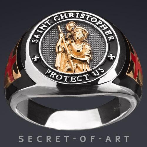 Saint Christopher Santo Cristoforo Cristoforo Cristoforo argentoO 925 Anello con giallo-rivestimenti 69584d