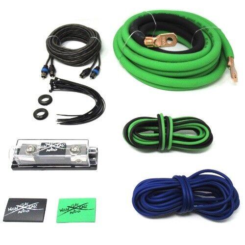 OFC 1//0 Ga AWG Amp Kit and 1//0 GA Big 3 Upgrade Green Black Sky High Car Audio
