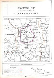 Cardiff.Wales.Llantrissaint.1868.Boundary Commissioners report.Map on