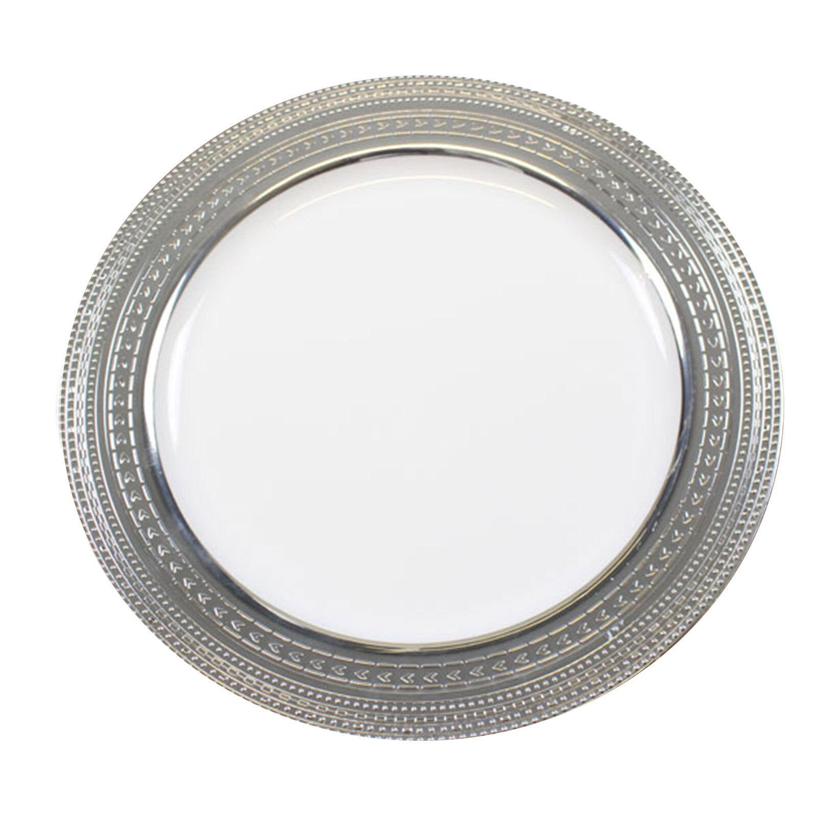 120 x 9    23cm weiß silber Rand starkes Einweg Plastik Essteller - Hochzeit | ein guter Ruf in der Welt  | Modernes Design