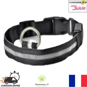 Collier-Nylon-Lumineux-a-Led-Noir-pour-Chien-ou-Chat-XS-S-M-L-XL-Neuf-FR
