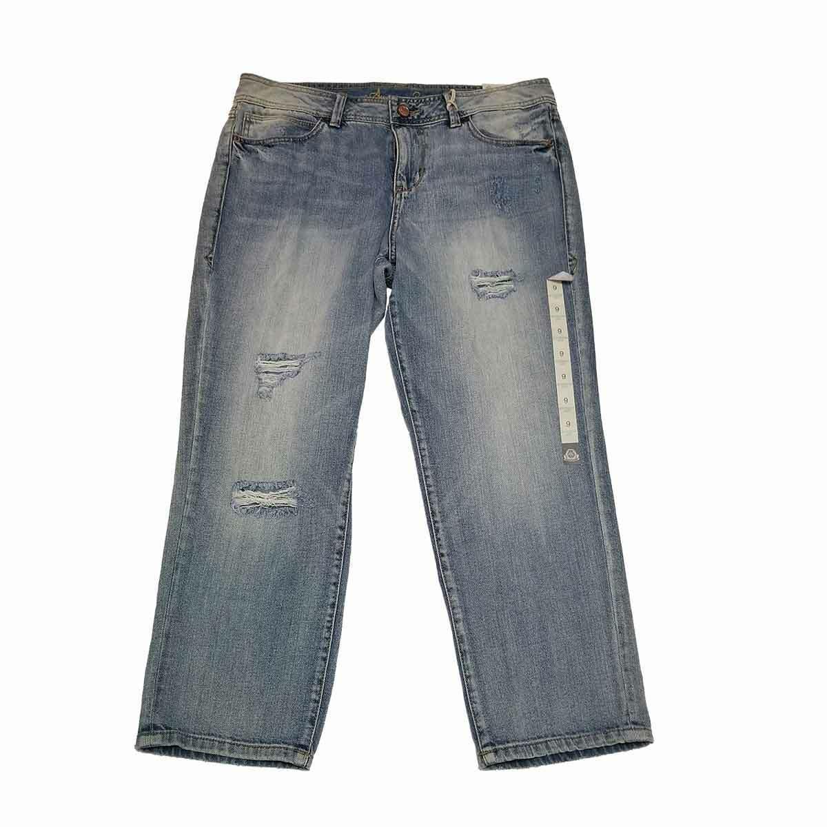 American Rag Boyfriend Ripped Cropped Straight Leg Jeans Sharlene Wash 9 MSRP...