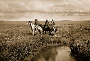 Details about Restored Vintage Native American Blackfeet Tribe Indian Photo  THREE CHIEFS Horse