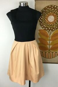 Gorgeous-Cue-Dress-Size-6-Black-and-Apricot-Cotton-Blend-Fit-amp-Flare