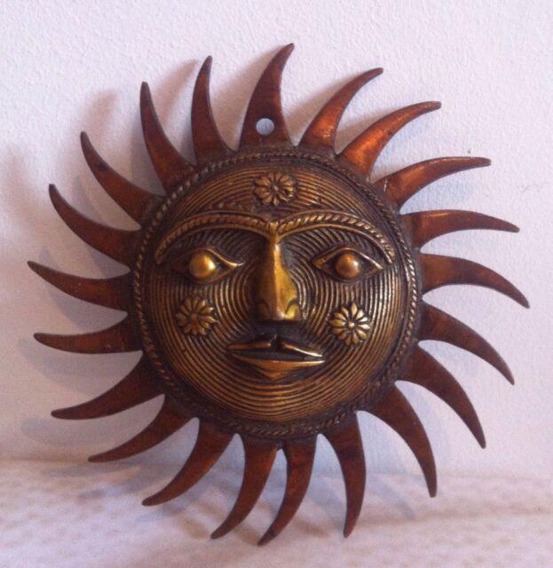 Antique Style Brass Sun Face Ornament Sun Mask wall hanging Buddha Plaque