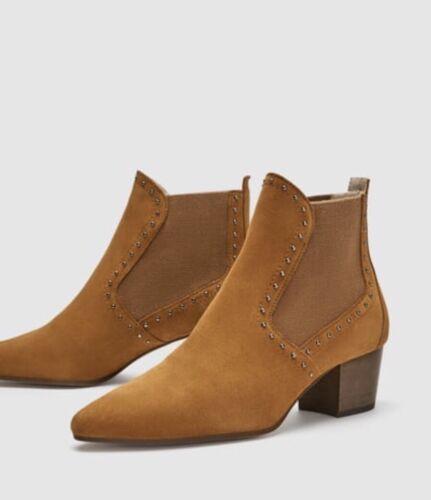 6 véritable Boots en Tan en Taille 39 cloutées Zara daim doré Uk cuir Eu cqPB6WA5p