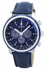 Citizen Men's Eco-Drive Chronograph Leather Band Blue Dial 43mm Watch CA4031-07L