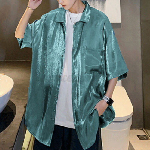 Mens Short Sleeve Shiny Silky Shirts Casual Loose Button Down Party Shirt Blouse