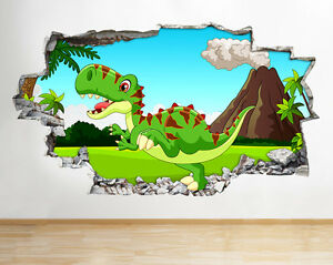 Wall stickers cartoon dinosaur volcano kids smashed decal 3d art