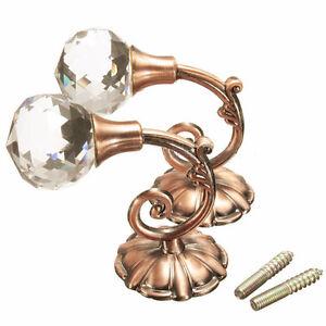 2x-Metal-Crystal-Glass-Curtain-Holdback-Wall-Tie-Back-Hooks-Hanger-Holder-Tool