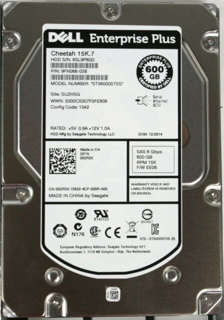 Dell EqualLogic 600GB 15k 3.5 SAS hard drive Seagate ST600057SS 9FN066-058 02R3X