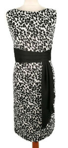 Per-Una-M-amp-S-12-Black-White-Abstract-Sleeveless-Fitted-Dress-Party-Sash-Waist