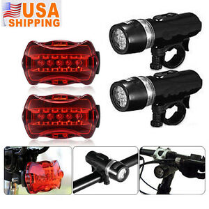 Waterproof-5-LED-Lamp-Bike-Bicycle-Front-Head-Light-Rear-Safety-Flashlight-2-Set