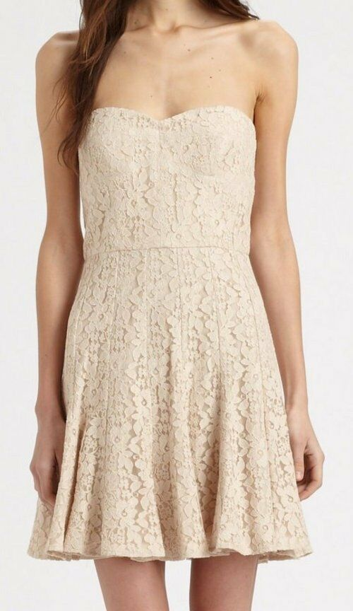 BCBG NWT  Lisanne  Almond Beige Lace Strapless Party Dress New 8 AJH6W658