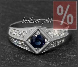 Diamant-Brillant-und-Saphir-Ring-aus-Weissgold-0-50ct-585-Damen-Goldring-Neu