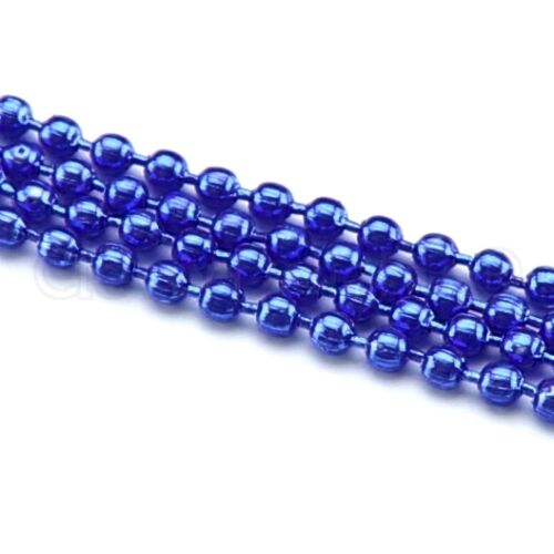 """28 Inch Electric Blue Color 2.4mm 5 Ball Chain Necklaces Adjustable 28/"""""""