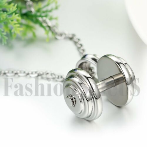 Mens Stainless Steel Dumbbell Barbell Weight Pendant Charm Necklace W Chain