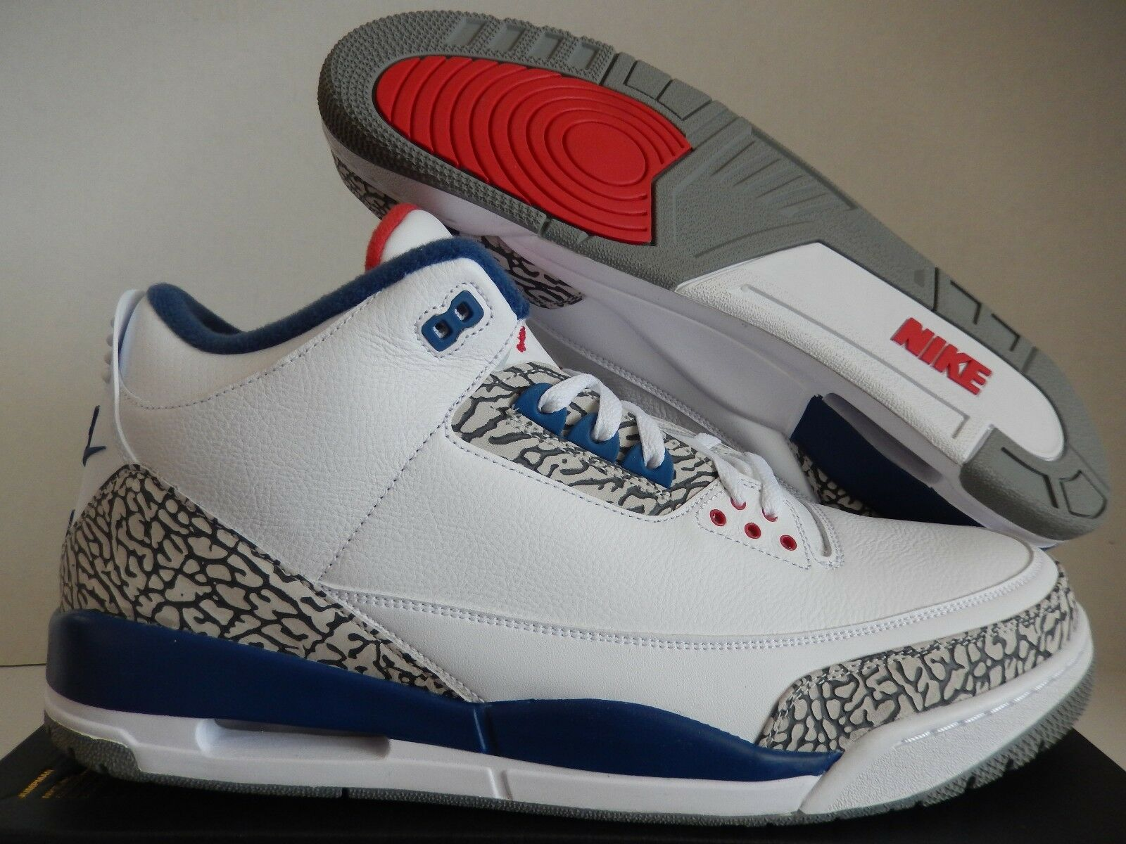 Nike Air Jordan 3 FUEGO-Azul Retro OG Blanco-ROJO FUEGO-Azul 3 Verdadero [854262-106] 5ae31c