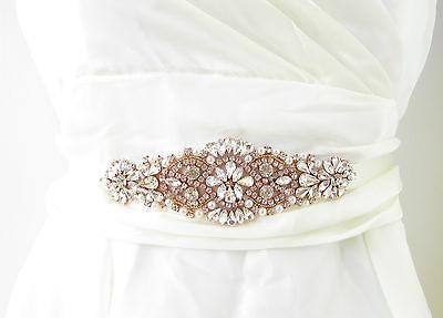 Opal Rose Gold Pearl Bridal Belt Sash Crystal Wedding Ivory Rhinestone Vtg 3009