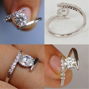 2.12 Ct Solitaire Moissanite Engagement Ring 18K Solid White Gold ring Size 9.5